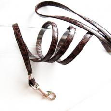 Hundeleine Snake Skin braun, schwarz
