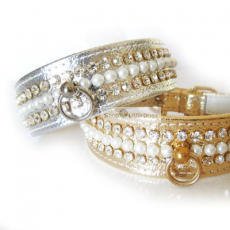 Hunde-Halsband Glamour Pearl gold, silber