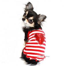 Hunde-Top Glamour Heart rot