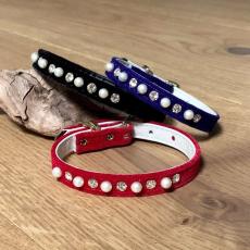 Halsband Velvet Puppy schwarz, rot, blau