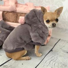 Hunde-Sweater YELENA taubengrau-rosé (Gr.26,32)
