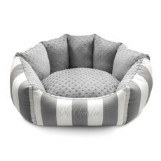 Hunde-Bett MONTE CARLO grau-weiß (Gr.M)