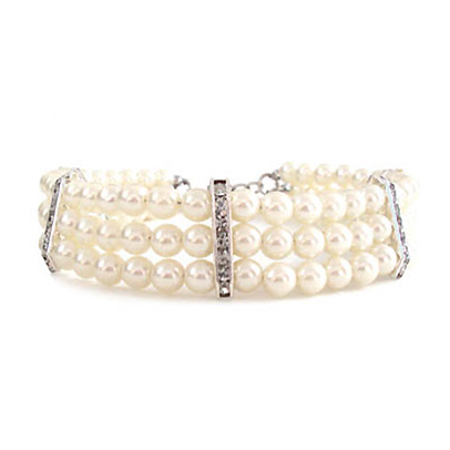 Hunde-Perlenkette 'Kristina' weiß (Gr.M,L)