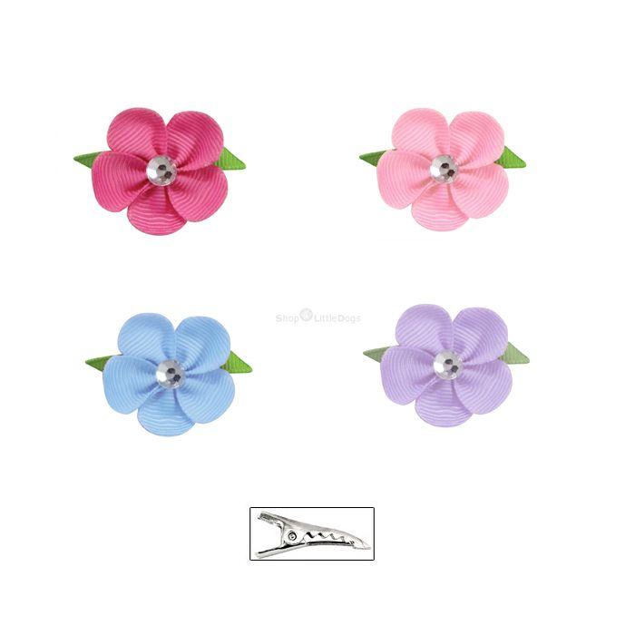Hunde-Haarschleife 'Little Flowers' lila