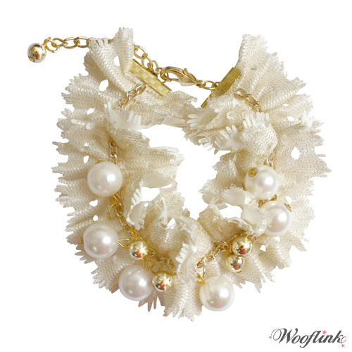 Hunde-Collier 'Pearl' creme (Gr.M)
