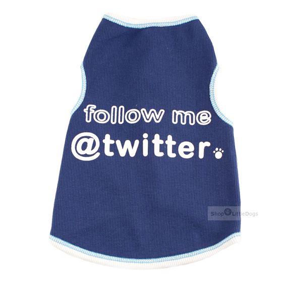 Hundetop 'Twitter me' blau (Gr.XXS,S)