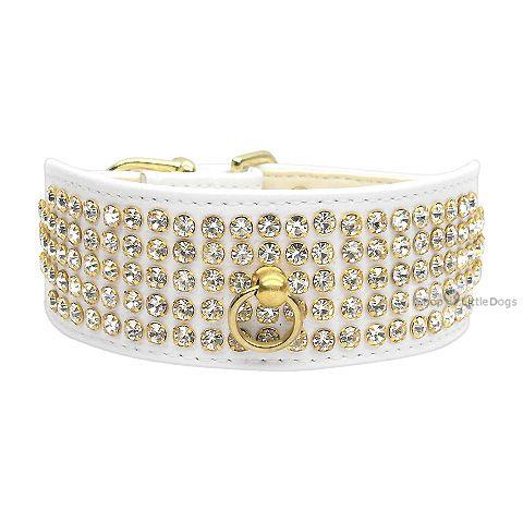 Hunde-Halsband 'Luxury' weiß (Gr.M,L)