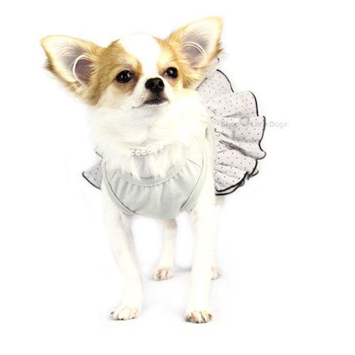 Hunde-Kleid 'Pancake' hellgrau (Gr.XS)