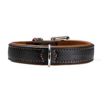 Hunde-Halsband 'Elk Skin' schwarz/ cognac