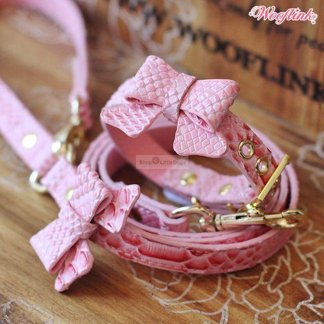 Halsband & Leine 'Glam Collar' pink (Gr.S)