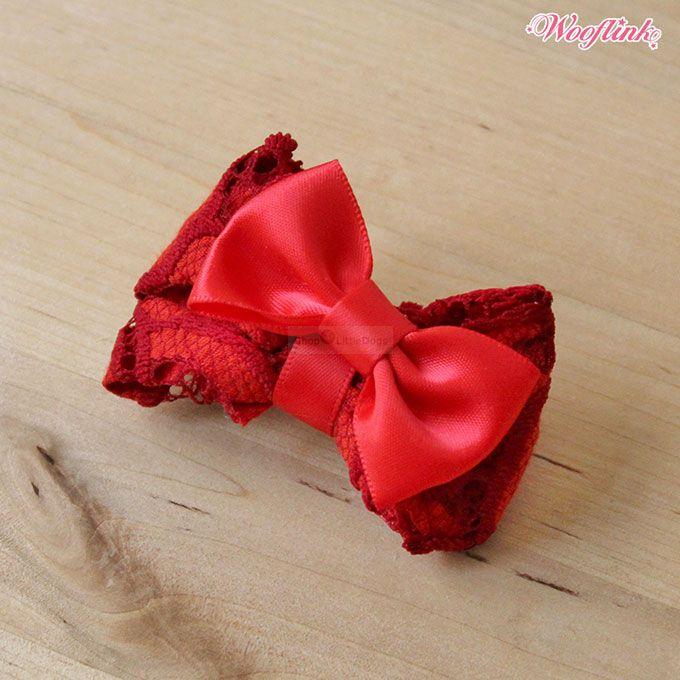 Hundehaarschleife 'Rouge' rot
