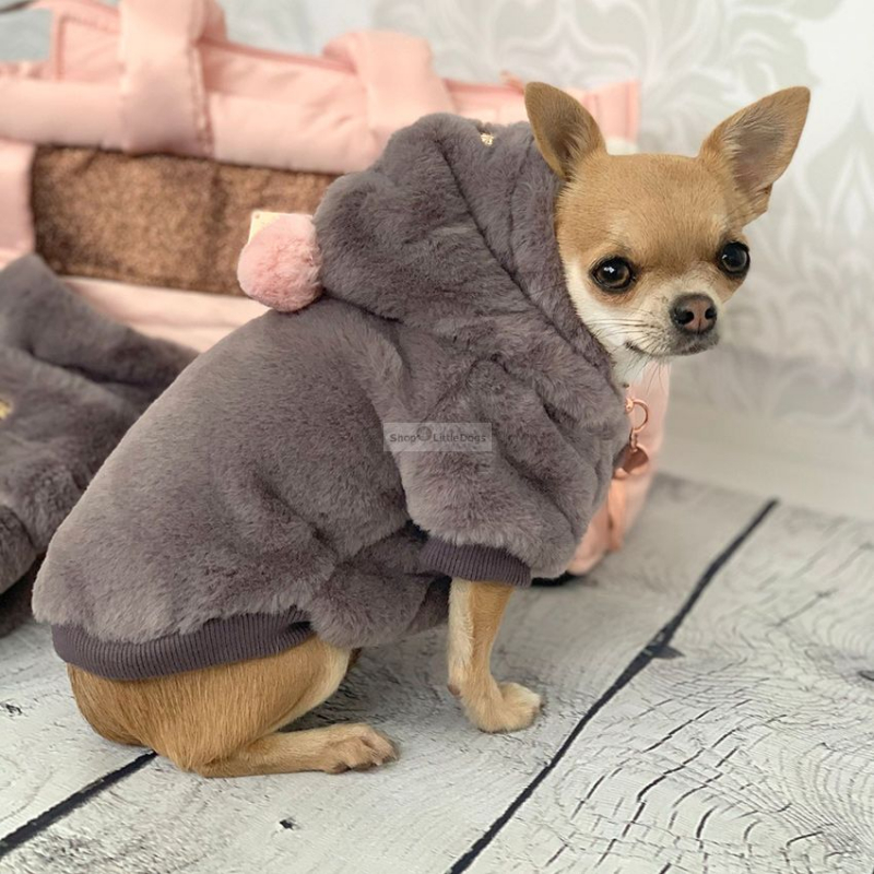 Hunde-Sweater 'YELENA' taubengrau-rosé (Gr.26,32)