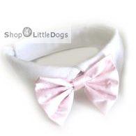 Hunde-Fliege 'Peppino' weiß-rosé (Gr.XS)