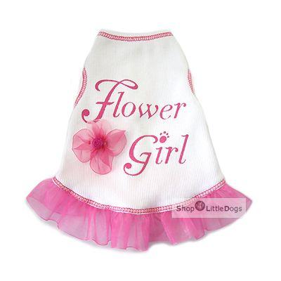 Hundekleid 'Flower Girl' weiß (Gr.XXS,XS)
