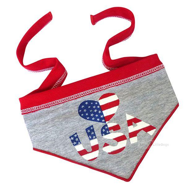 Hundehalstuch 'I Love USA' grau