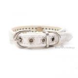 Hunde-Halsband 'Snake Skin' ecru (Gr.XS)