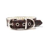 Hunde-Halsband 'Snake Skin' braun, dreireihig