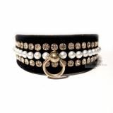 Halsband&Leine Velvet & Pearls schwarz (Gr.XS,L,XL)