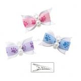 Hunde-Haarschleife Paws blau, pink, lila