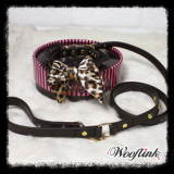 Halsband & Leine 'Leopard Bow'
