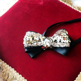 Hundeschleife 'Sequin Bow' schwarz-gold