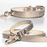 Hundehalsband 'SHINE' beige-gold