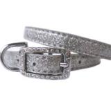 Hunde-Halsband Sparkle silber (Gr.M)