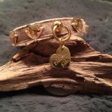 Hunde-Halsband 'DIAMONDS' camel (Gr.S)