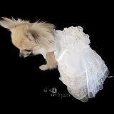 Hunde Brautkleid 'Xenia' offwhite (Gr.S,M)