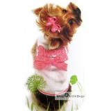 Hunde-Top Sweet weiß-rosa (Gr.XXS,M)