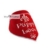 Hunde-Halstuch Puppy Love rot (Gr.M)